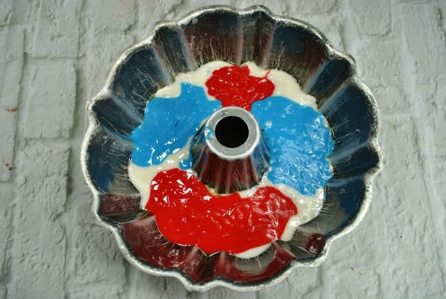 Patriotic Bundt Cake red white and blue