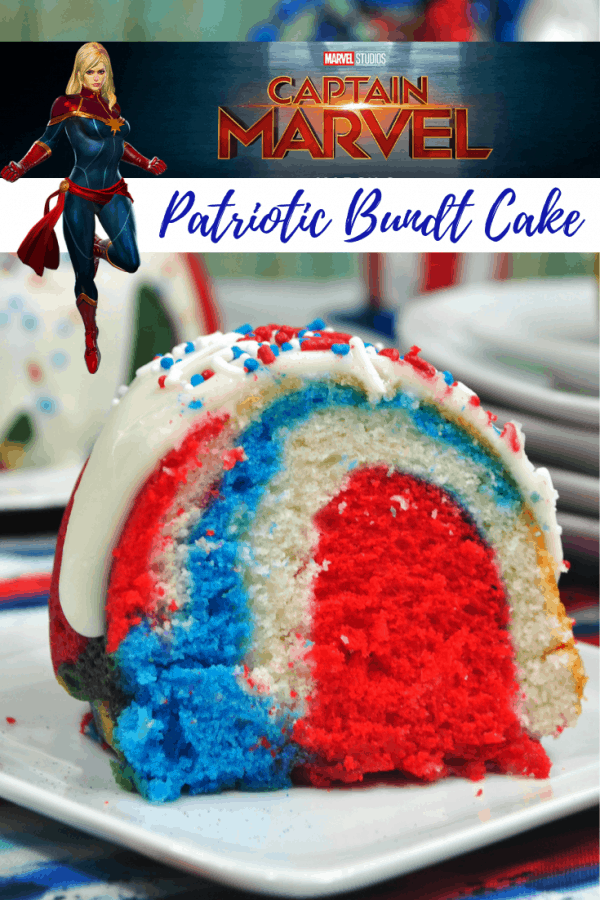 Patriotic Bundt Cake CAptain Marvel Inspired