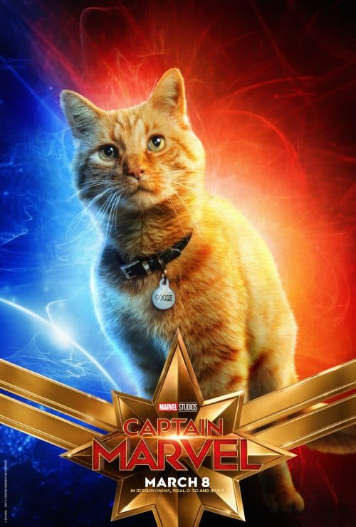 captain marvel movie poster Goose the cat