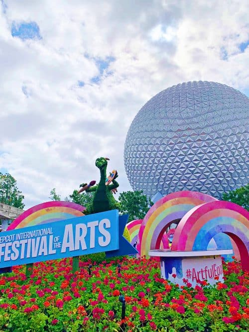 2019 Epcot Festival of the Arts Figment Topiary and spaceship earth