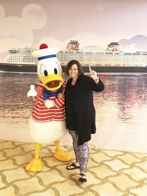 Donald Duck character meet and greet on Disney Cruise Line