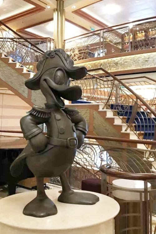 Admiral Donald Duck statue on the Disney Cruise Line Dream