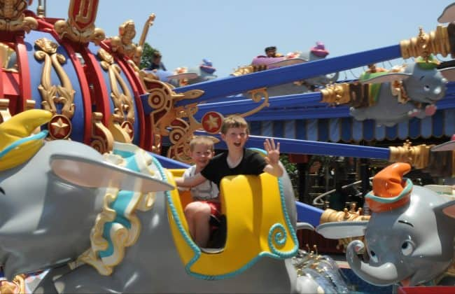 riding dumbo at Disney World