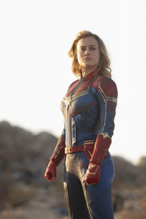 captain marvel red blue suit