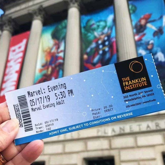 Franklin Institute Marvel Universe of Super Heroes Exhibit ticket