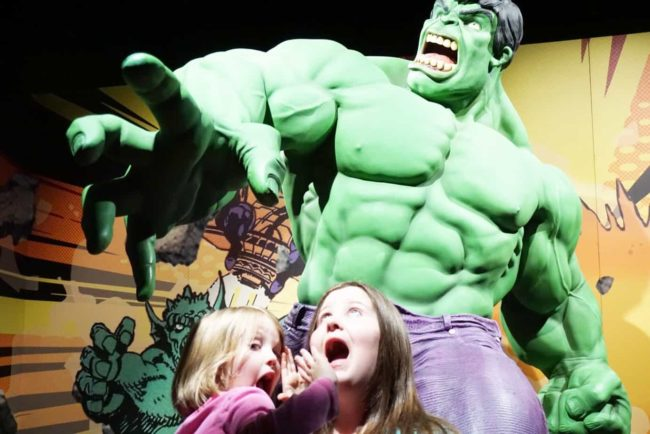 The Hulk Statue at Franklin Institute Marvel Universe of Super Heroes Exhibit