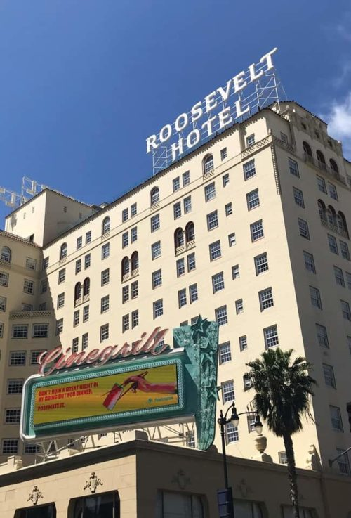 Outside of the Roosevelt Hotel in Hollywood CA
