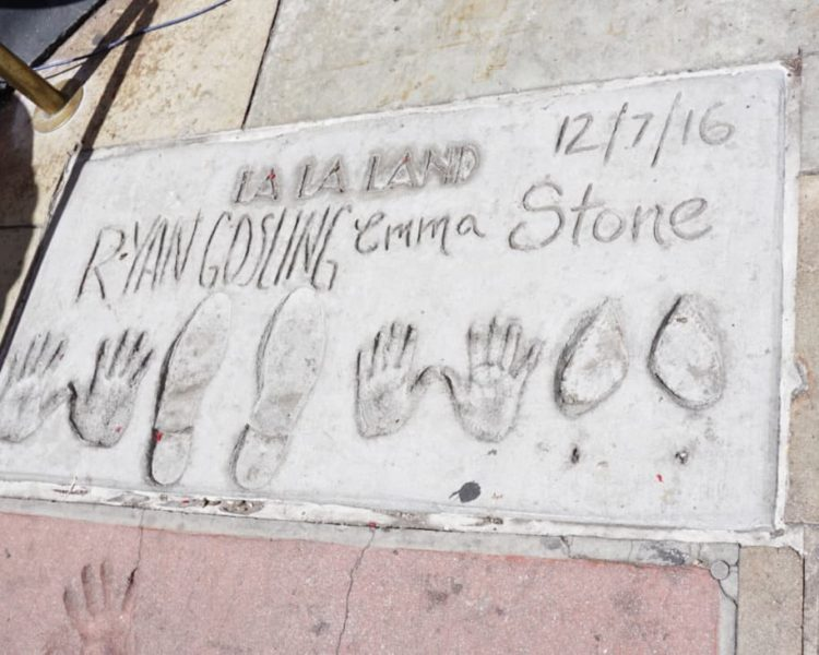 Ryan Gosling and Emma Stone TLC Theatre handprints