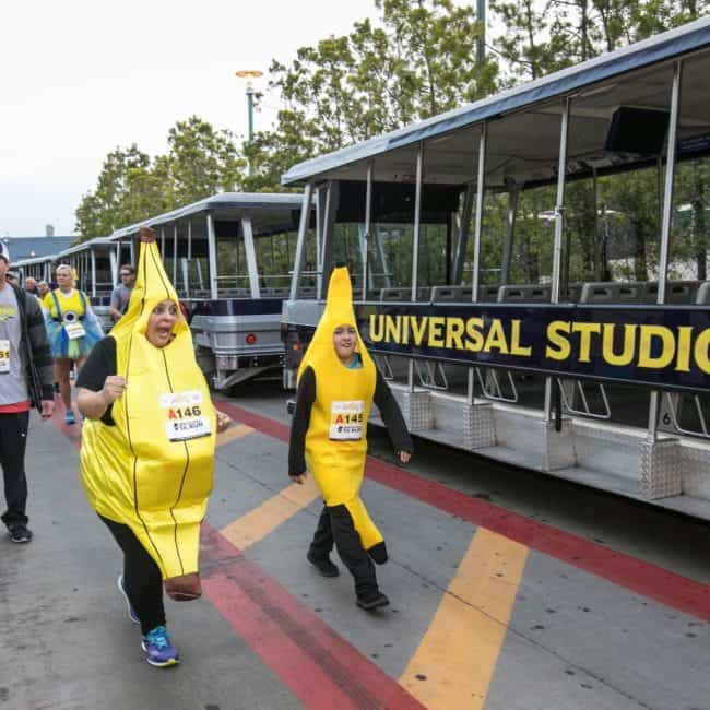 Banana costume runners running universal 5K at Universal Hollywood Studios
