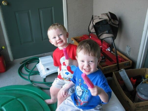 Jacob and Luke with Popsicle