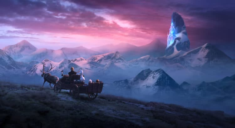 "In Walt Disney Animation Studios' ""Frozen 2, Elsa, Anna, Kristoff, Olaf and Sven journey far beyond the gates of Arendelle"