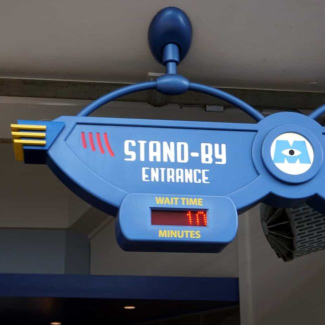 wait time sign from Monsters Inc in Tomorrowland
