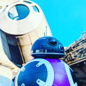 bb droid made at Star Wars: Galaxys Edge droid depot in front of the falcon