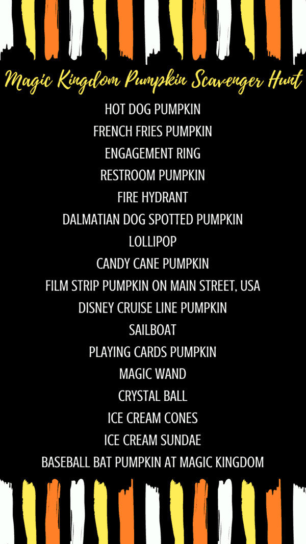 halloween pumpkin halloween scavenger hunt list Disney World