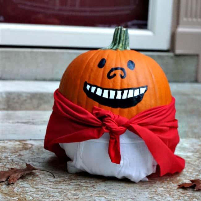 No-carve DIY Captain underpants pumpkin tutorial
