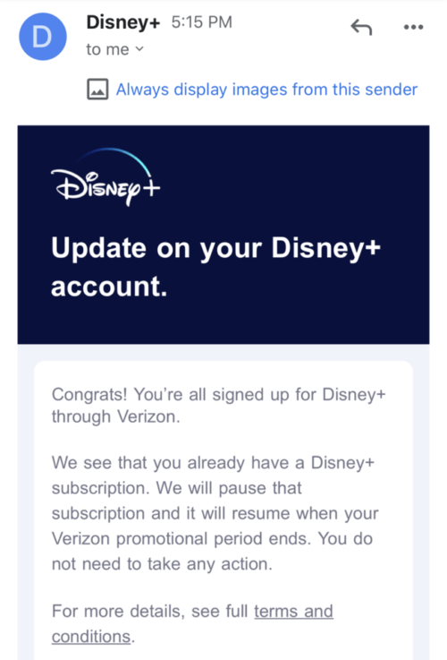 Verizon Disney Plus Offer email