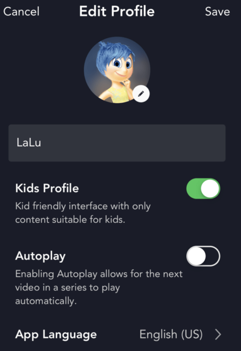 Disney Plus Parent controls Kids profile