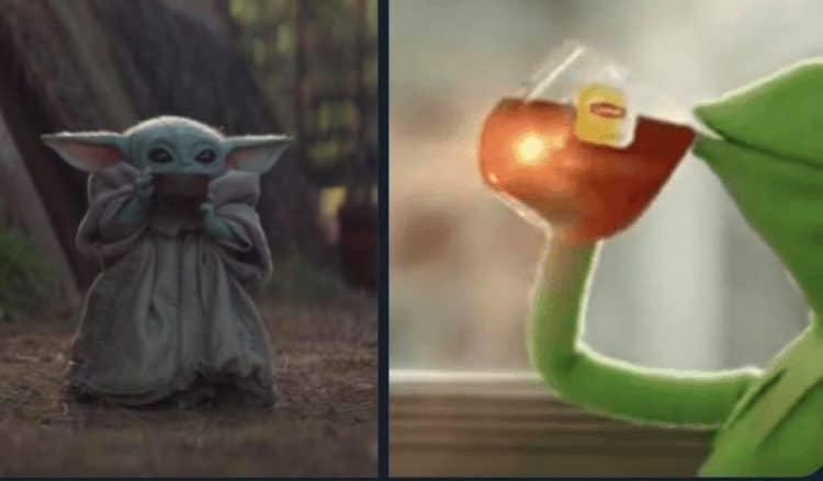 baby yoda meme kermit sipping tea