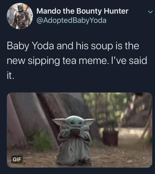 baby yoda new tea sipping meme