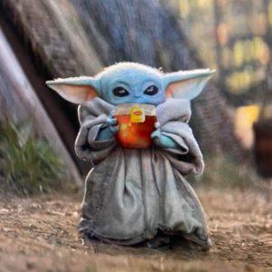 Baby yoda sipping tea meme