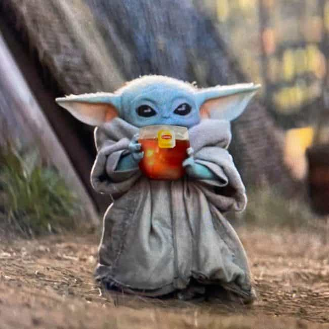 Baby yoda sipping tea meme