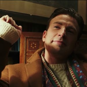 chris evans cream colored cable knit fishermans sweater knives out