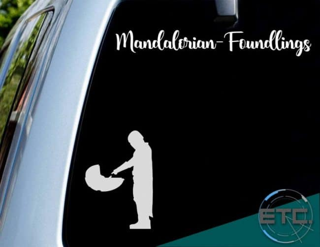 mandalorian foundlings baby yoda decal