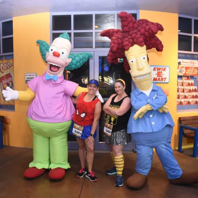 krusty and sideshow bob running universal orlando characters on the course