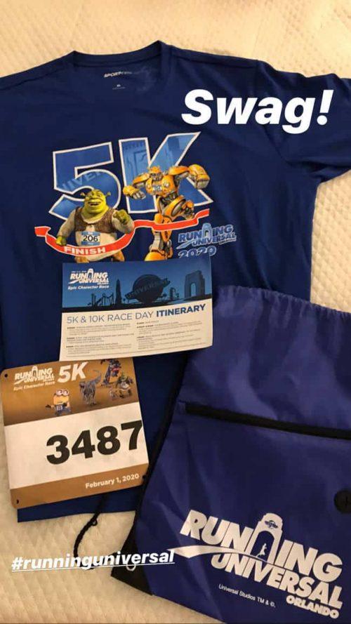 running universal 5K bib and shirt and sling bag