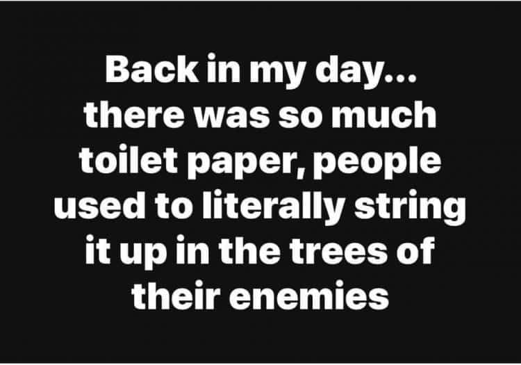 back in my day, toilet paper shortage meme
