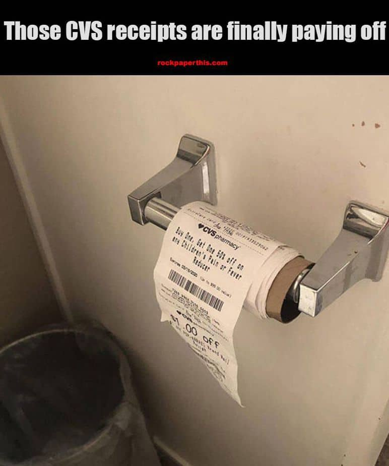 cvs receipt at toilet paper meme