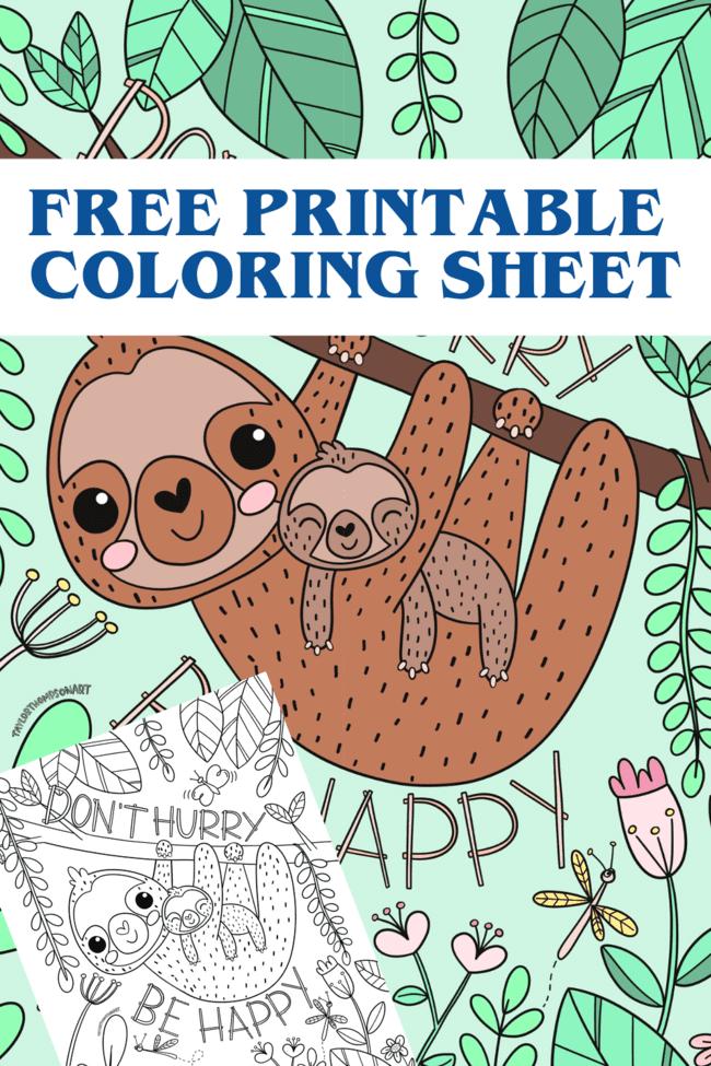 Adorable Sloth Coloring Sheet PDF- FREE PRINTABLE