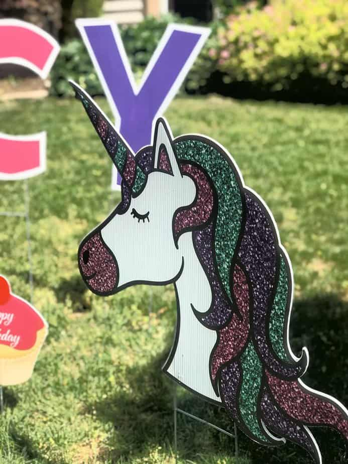 Unicorn yard card sign Burke VA
