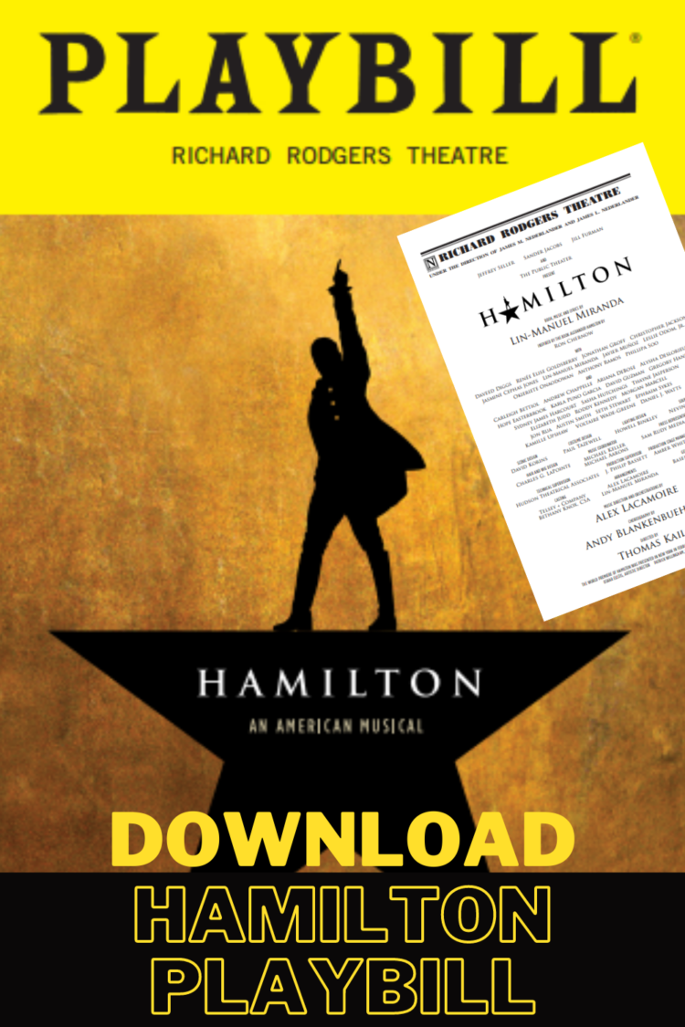 Download free official Hamilton Playbill from 2016