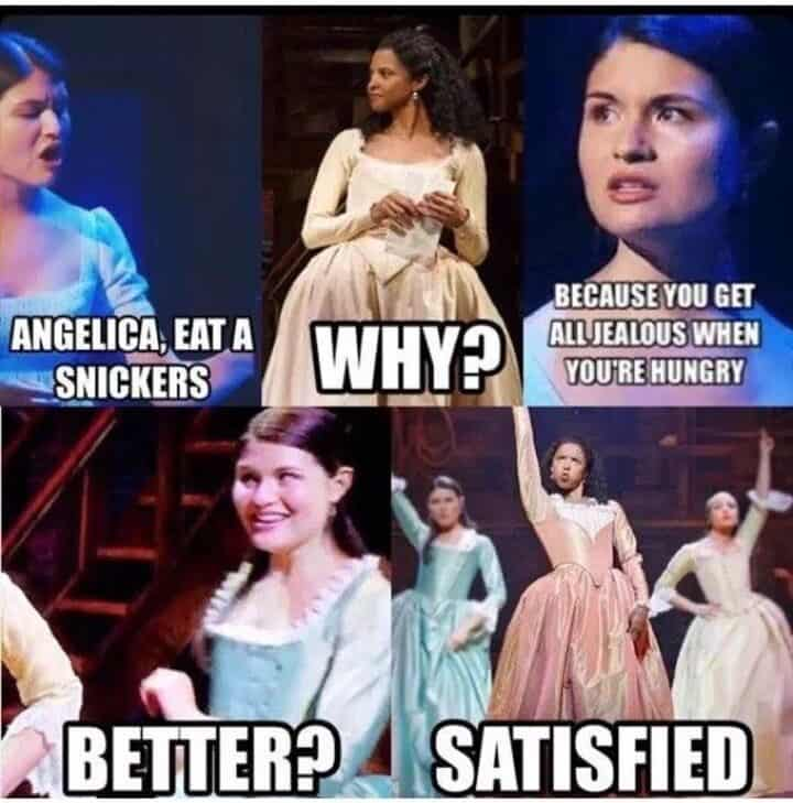 Snickers satisfied hamilton memes