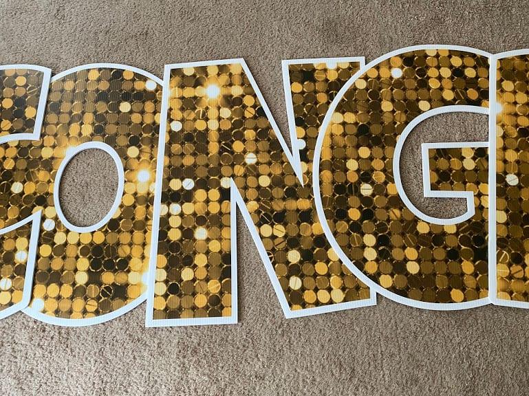 gold letters congrats yard sign springfield va