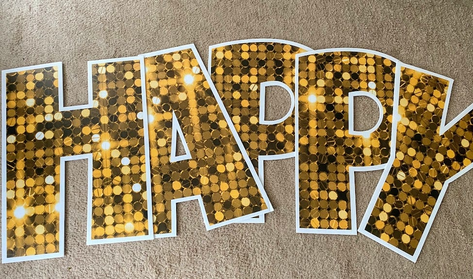 gold happy birthday yard card greeting