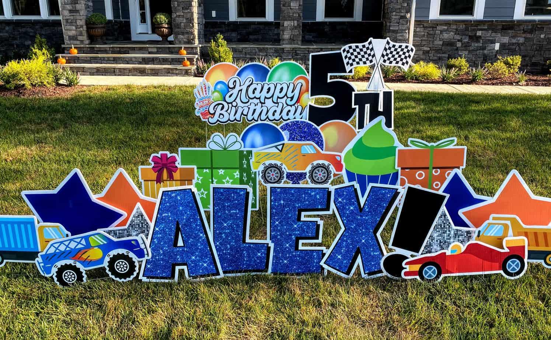 happy birthday alex yard card alexandria va