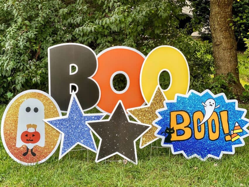 Halloween parade BOO yard card rentals