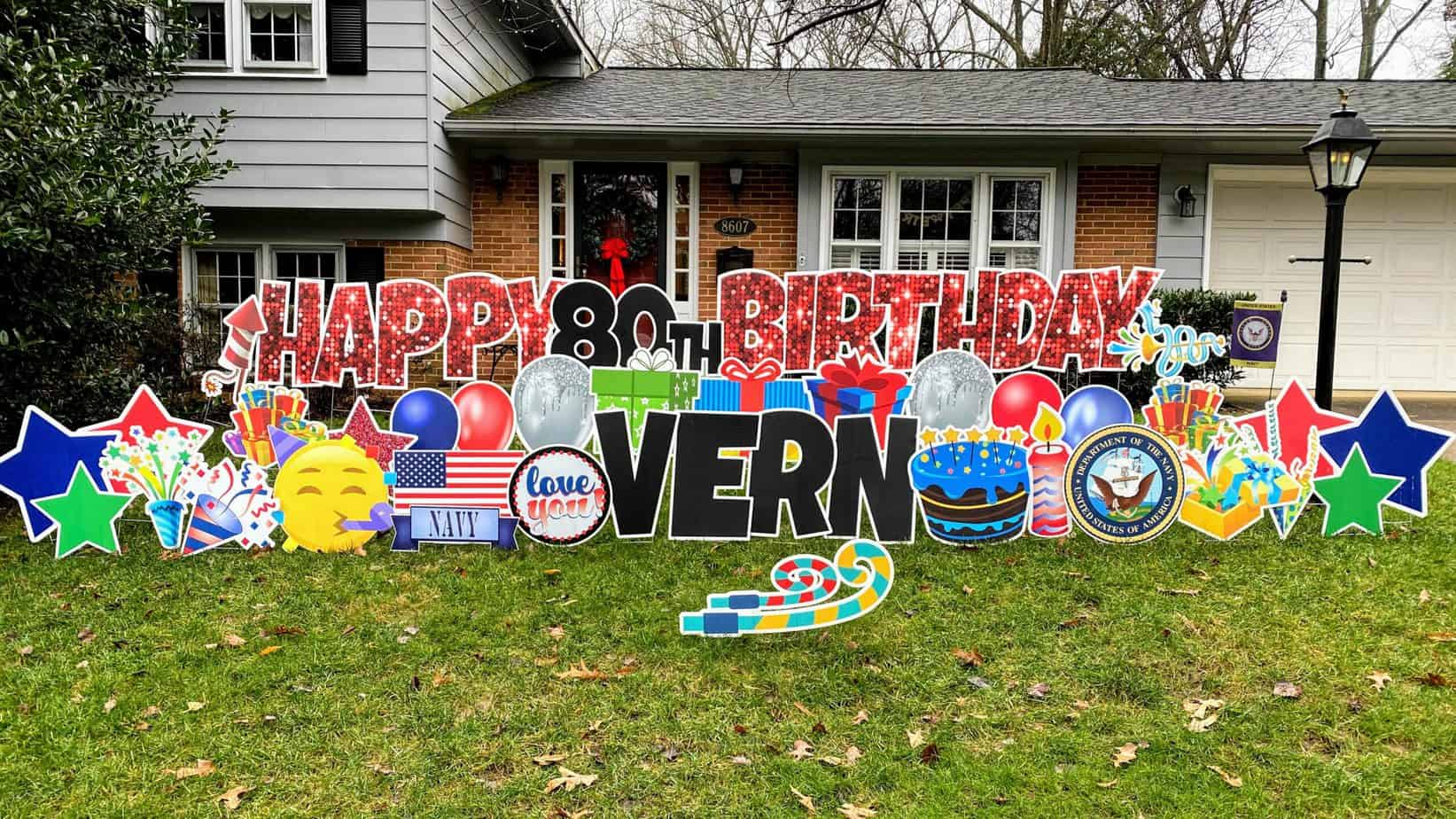 Happy 80th Birthday yard card. national yard card directory. find a birthday yard sign company near you