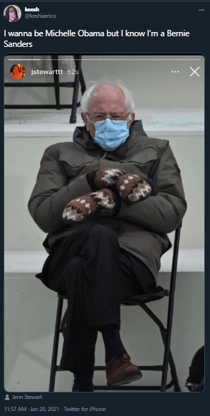 bernie sanders inauguration memes vs michelle obama