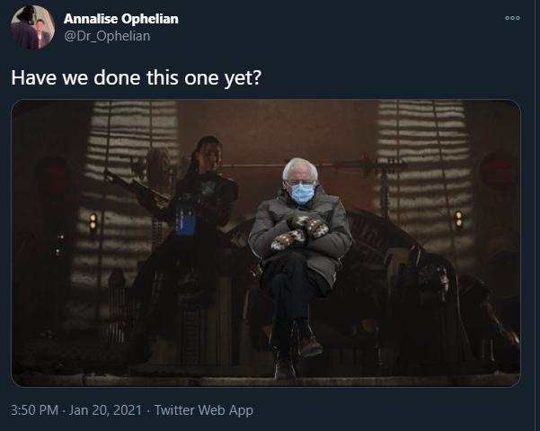 The Mandalorian bernie sanders inauguration memes