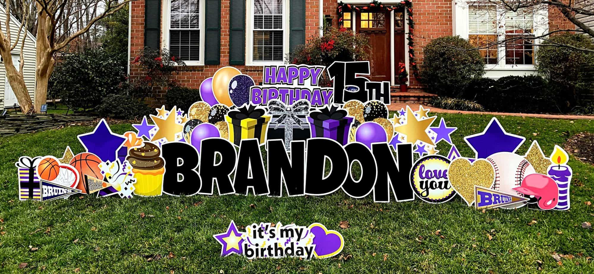 brandon 15th birthday yard sign burke va