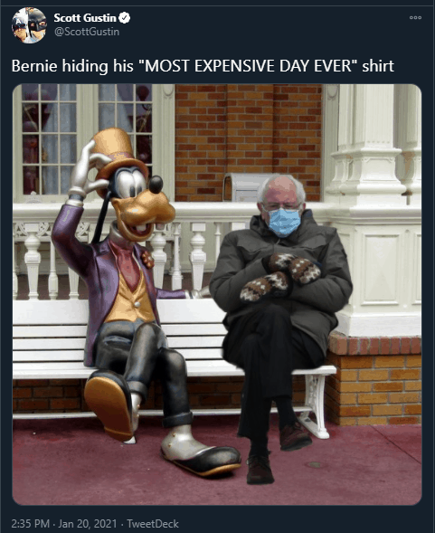 goofy and bernie sanders inauguration day memes
