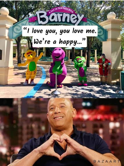 dom and barney fast and furious family meme